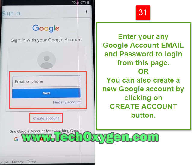 Enter New Google Account to unlock Android